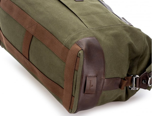 Duffle travel bag in canvas and leather in green base
