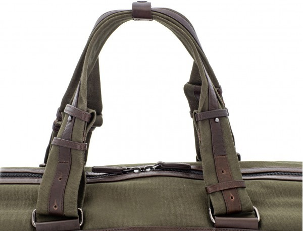 Duffle travel bag in canvas and leather in green handles
