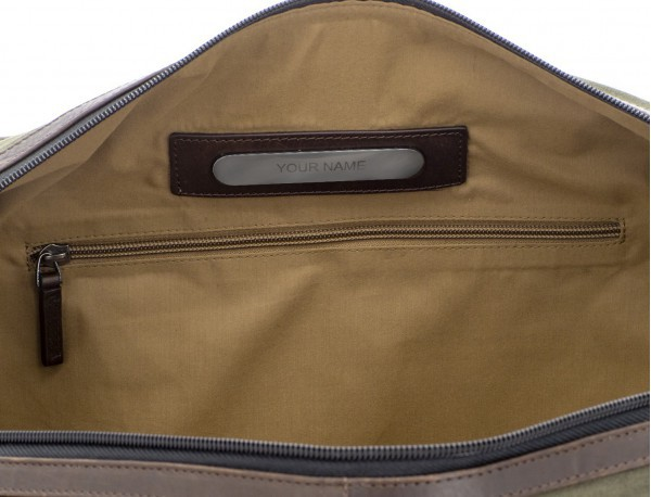 Duffle travel bag in canvas and leather in green personalized