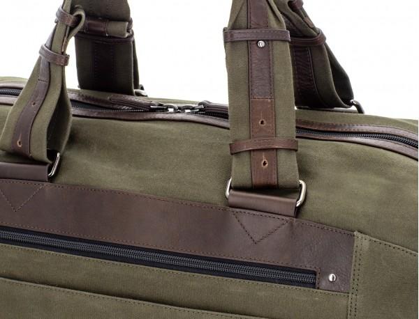 Borsone di viaggio in canvas e pelle in verde handles detail