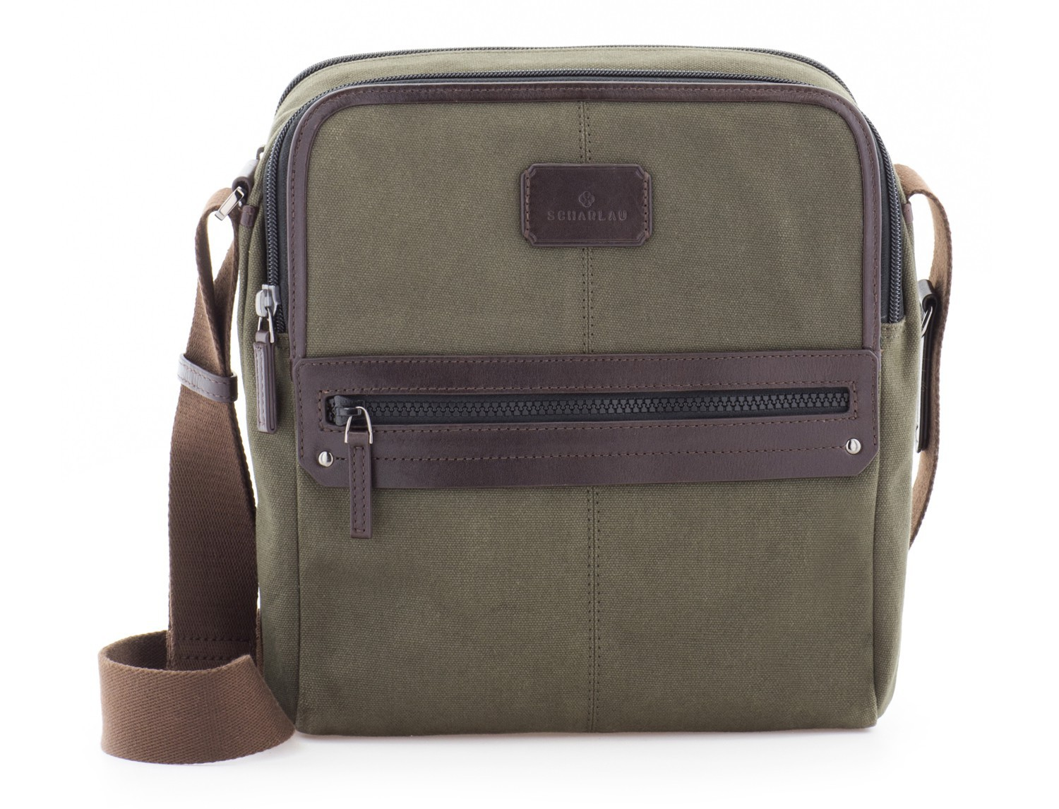 Crossbody bag for men in canvas and leather front