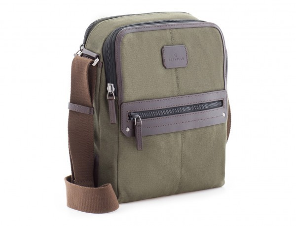 Crossbody bag for men in canvas and leather side