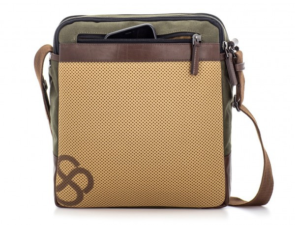 Crossbody bag for men in canvas and leather back