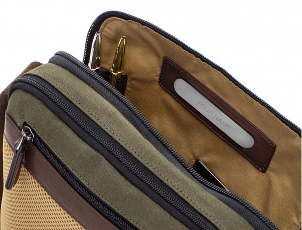 Crossbody bag for men in canvas and leather open