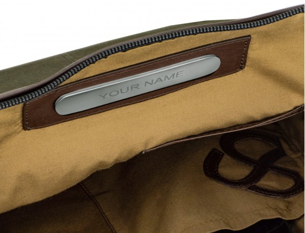 Crossbody bag for men in canvas and leather personalized