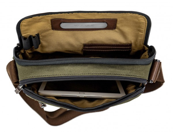 Crossbody bag for men in canvas and leather inside