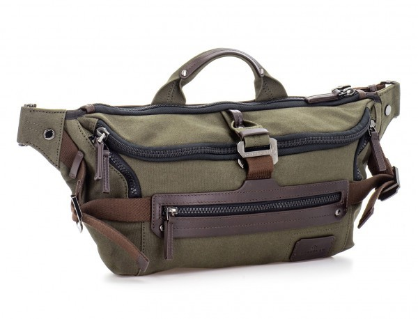 Waist bag in canvas and leather in green side