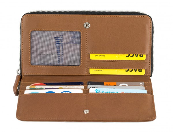 Leather women's wallet with coin pocket in camel open