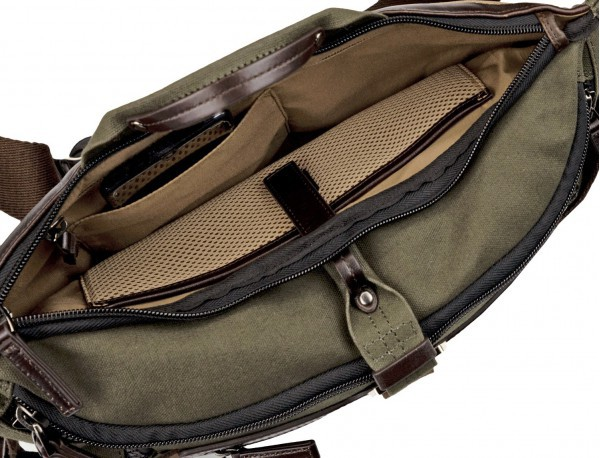 Waist bag in canvas and leather in green open