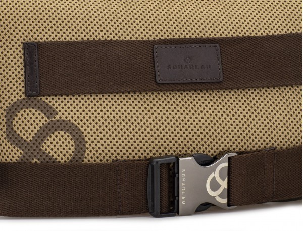 Waist bag in canvas and leather in green detail