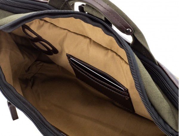 Waist bag in canvas and leather in green inside