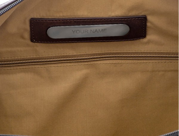 Waist bag in canvas and leather in green personalized