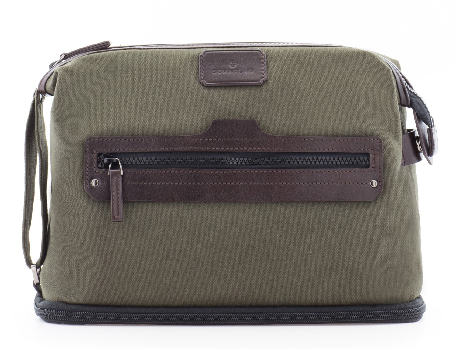 Large toiletry bag in canvas and leather in green front