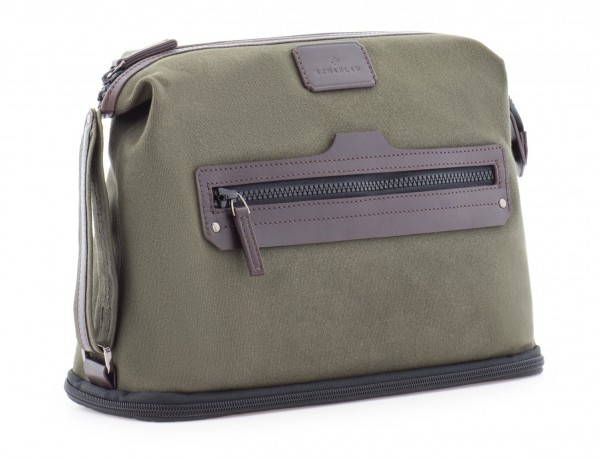 Large toiletry bag in canvas and leather in green side