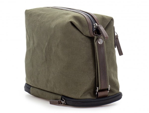 Large toiletry bag in canvas and leather in green back