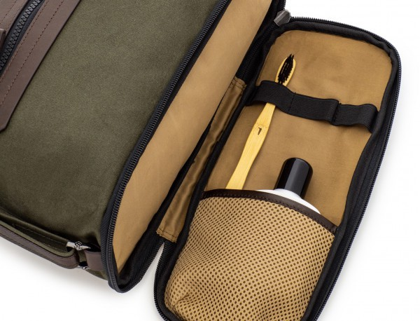 Large toiletry bag in canvas and leather in green compartment