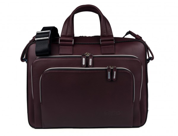 leather business bag in burgundy front