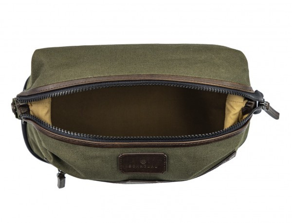 Large toiletry bag in canvas and leather in green inside