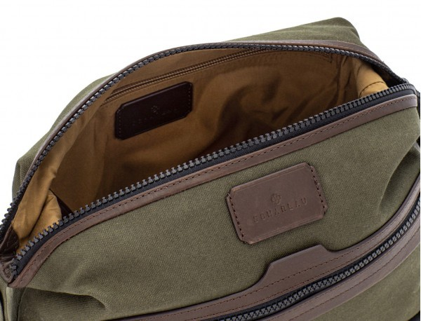 Small toiletry bag in canvas and leather in green open