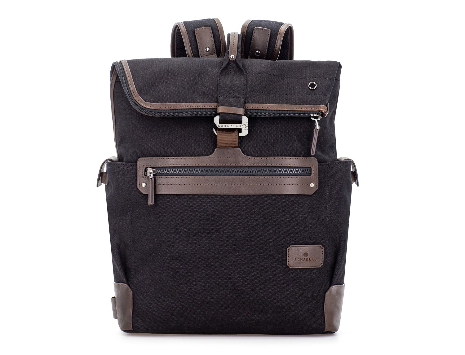 Backpack with flap in canvas and leather in black front