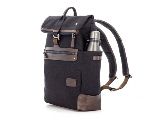 Backpack with flap in canvas and leather in black side