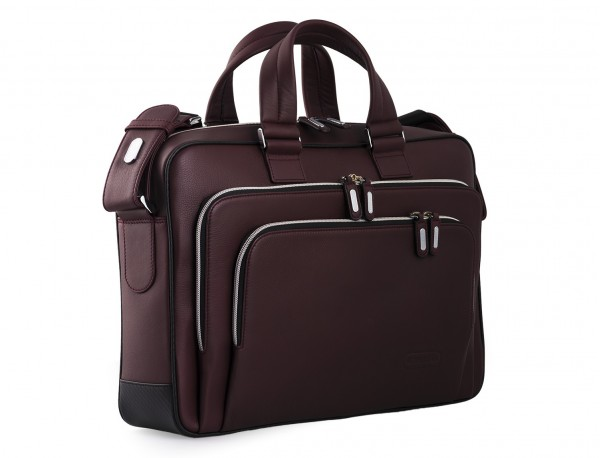 leather business bag in burgundy side