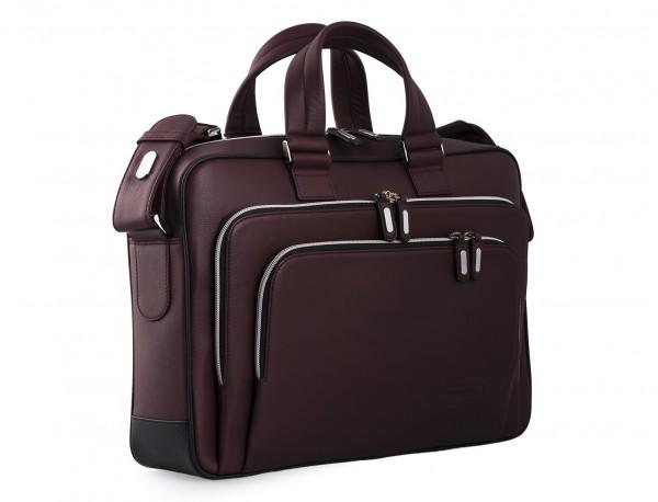 maletin ejecutivo de cuero en color burdeos lateral