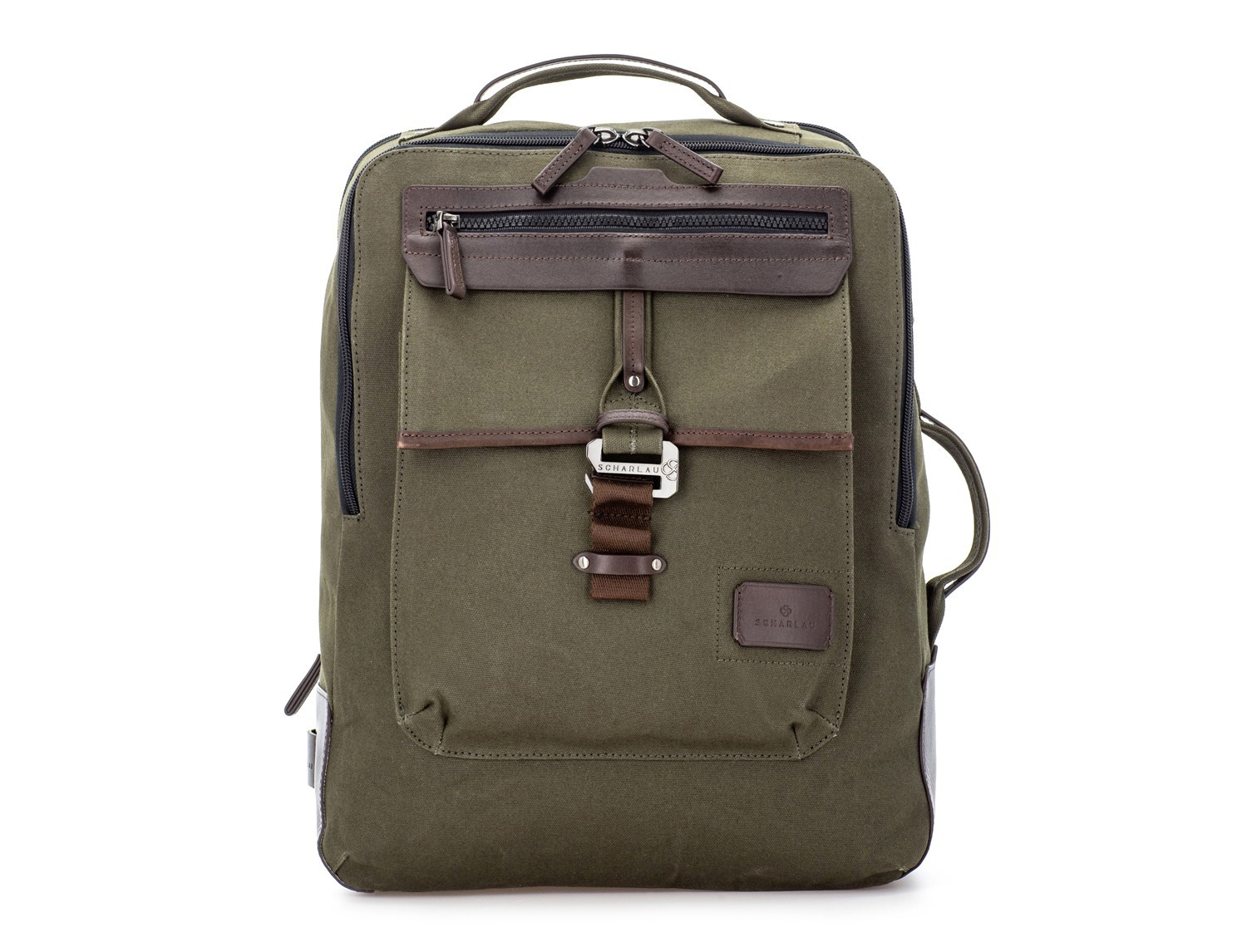 backpack in canvas and leather in green front