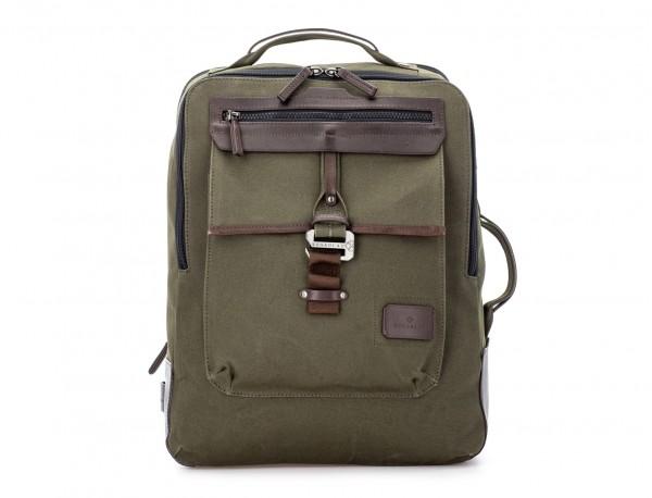 mochila de lona verde frontal