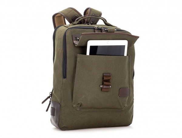 backpack in canvas and leather in green side