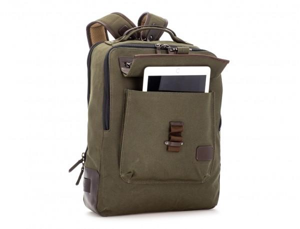 mochila de lona verde lateral