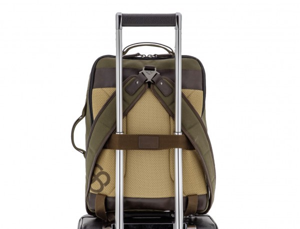 backpack in canvas and leather in green trolley