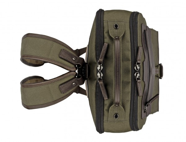 backpack in canvas and leather in green up