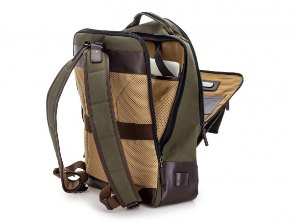 backpack in canvas and leather in green laptop compartment