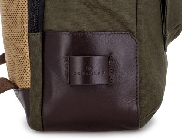Zaino a due scomparti in canvas e pelle in verde leather detail side