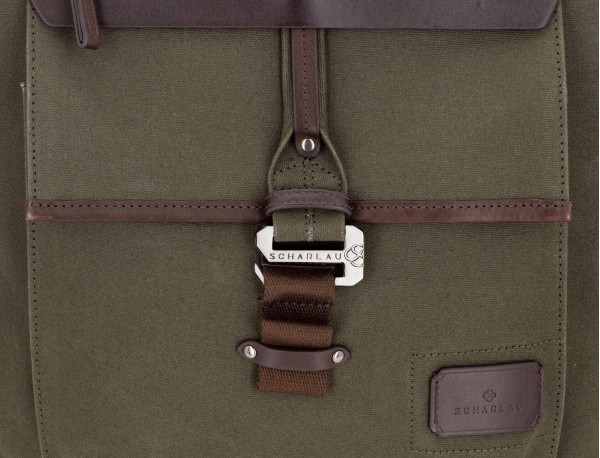 backpack in canvas and leather in green clousure