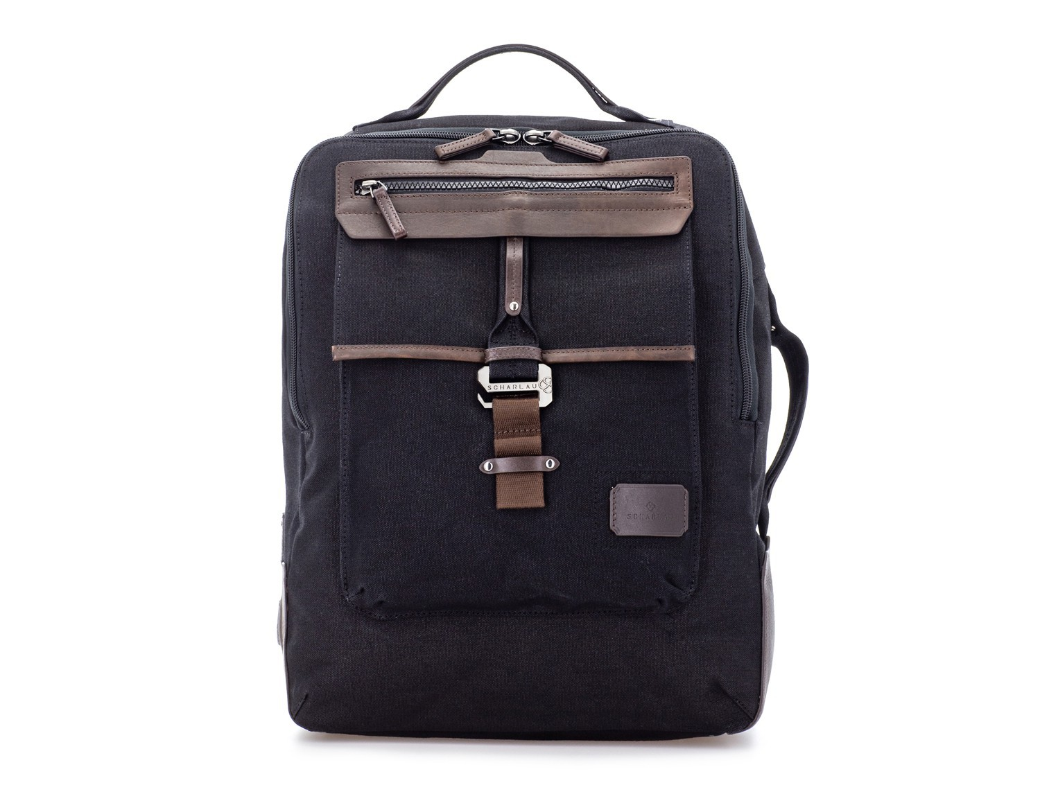 backpack in canvas and leather in black front