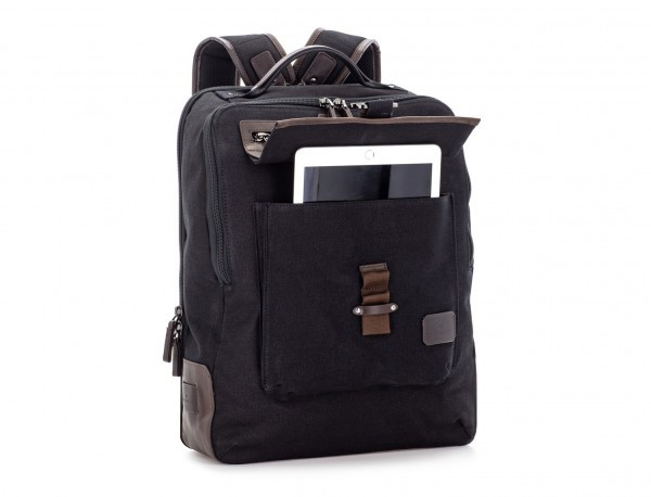 backpack in canvas and leather in black side