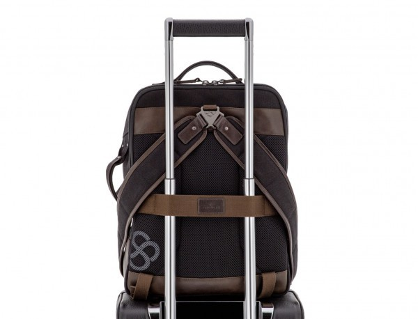 backpack in canvas and leather in black back