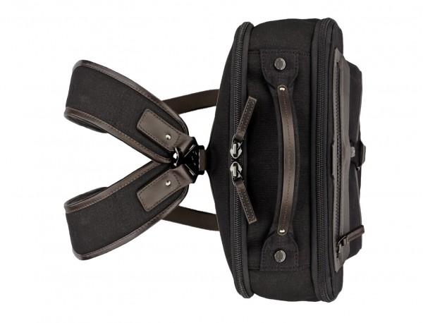 mochila de lona negro arriba