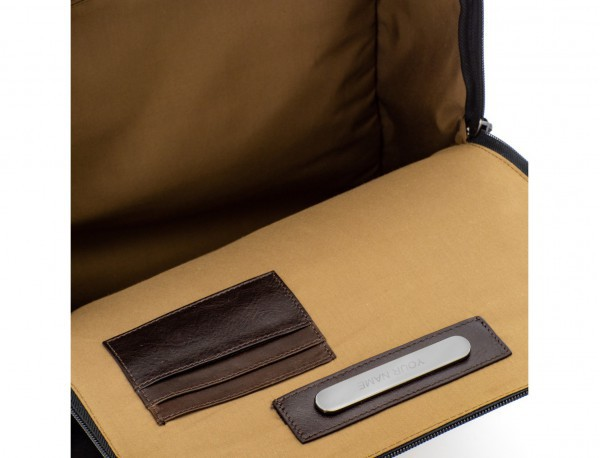 Zaino a due scomparti in canvas e pelle in nero leather detail inside