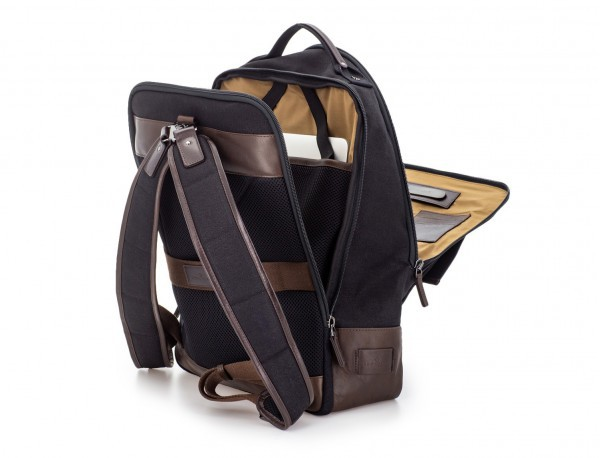 backpack in canvas and leather in black laptop compartment