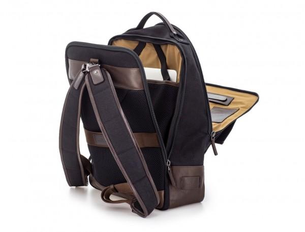 Zaino a due scomparti in canvas e pelle in nero laptop compartment