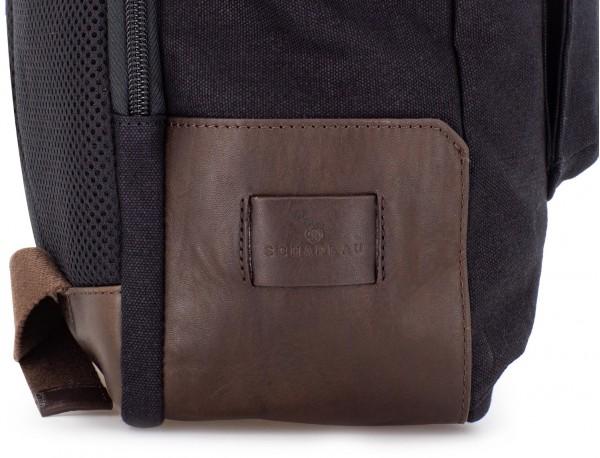 Zaino a due scomparti in canvas e pelle in nero leather detail