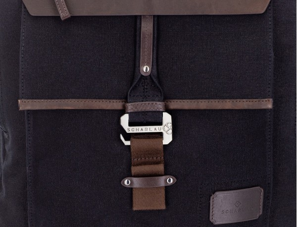backpack in canvas and leather in black closure