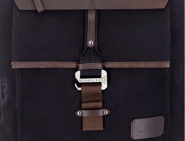 mochila de lona negro detalle cierre