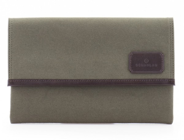 """Laptop sleeve in canvas and leather for laptop 13,3"""" inch in green front"""