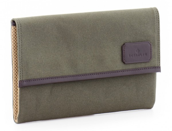 """Laptop sleeve in canvas and leather for laptop 13,3"""" inch in green side"""