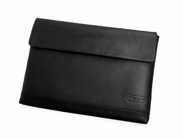 """Leather laptop sleeve 15.6"""" inch black front"""