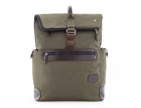 Backpack with flap in canvas and leather in green front